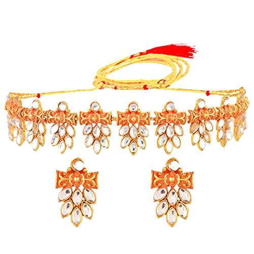 Efulgenz Joyería india antigua Kundan Crystal Gargantilla collar pendientes gota Bollywood joyería de boda conjunto para mujeres, Metal,