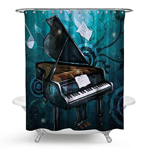 kisy Wasserdicht Schimmelresistent Dusche Badewanne Vorhang Cartoon dunkelgrün Musik Note Piano Polyester Duschvorhang (180cm × 180cm)