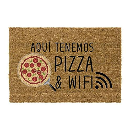 DCASA Pizza& WiFi Referencia DC Felpudos Textiles del hogar Unisex Adulto, Multicolor (Multicolor), única