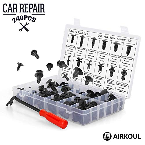 240 PCS Car Auto Push Pin Rivet Trim Clip, Panel Body Interior Assortment Set with Free Fastener Remover -12 Sizes for Ford Toyota Honda Chrysler by Airkoul
