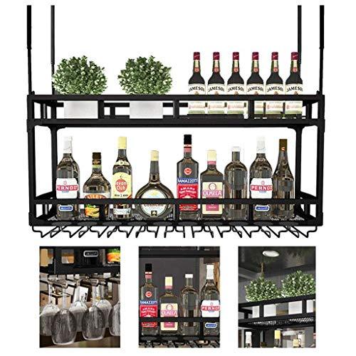 Weinregale, Weinregal Deckenmontage Hängen Weinflaschenhalter Rotwein-Becherhalter den Kopf gestellt Hanging-Becher-Schale-Aufhänger-Halter-Regal for Küchen bardekor Ständer, 60cm (23.6in), 60cm (23.6