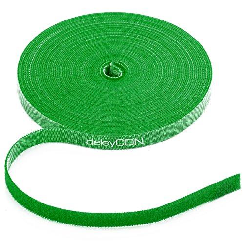 deleyCON 10m Klett Kabelbinder Klettband Klettbandrolle 10mm Breit Kabelmanagement Kabelorganizer Klettkabelbinder Klettverschluss zuschneidbar Grün