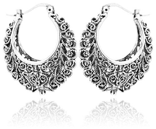2LIVEfor Traumhafte Ohrringe Ethno Gross verziert Ohrringe Bohemian Vintage Tibet lang Hängend Rund Creolen Breit Antik Style Silber Ornamente Creolen verflochten