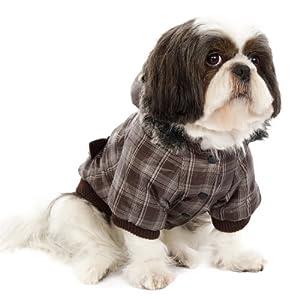 UrbanPup Pull pour chien Marron Parka à carreaux avec capuche amovible