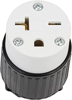 Nema 6-20R(6-20C) 20A 250V Receptacle T-Blade 250Volt Industrial 20A Connector, Easy Assembly 20Amp 250 Volt USA Canada 3-Prong Female Straight Blade Connector, (UL Listed) LK5620R