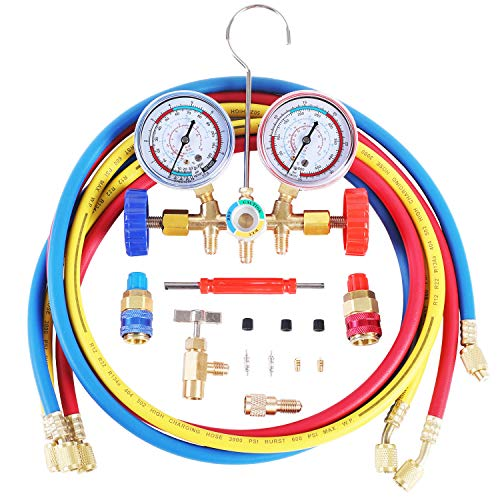 JIFETOR 3 Way AC Manifold Gauge Set, HVAC Diagnostic Freon Charging Tool for Auto Household R12 R22 R404A R134A Refrigerant, with 5FT Hose, Quick Coupler, Can Tap, ACME Adapter and Valve Core Tool Kit