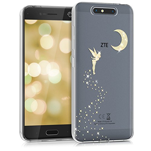 kwmobile ZTE Blade V8 Hülle - Handyhülle für ZTE Blade V8 - Handy Case in Fee Glitzer Design Gold Transparent