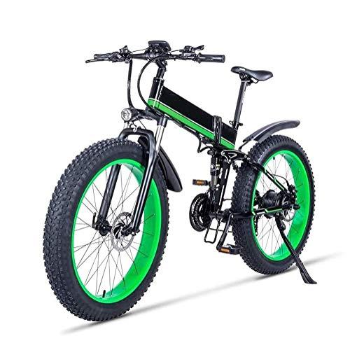 LQH 26 Zoll Elektro-Fahrräder, faltbar Dicke Reifen, 12Ah Lithium-Batterie, Unisex 21 Geschwindigkeit vollgefederte Mountainbike, mit dem hinteren Sitz Snow Bike