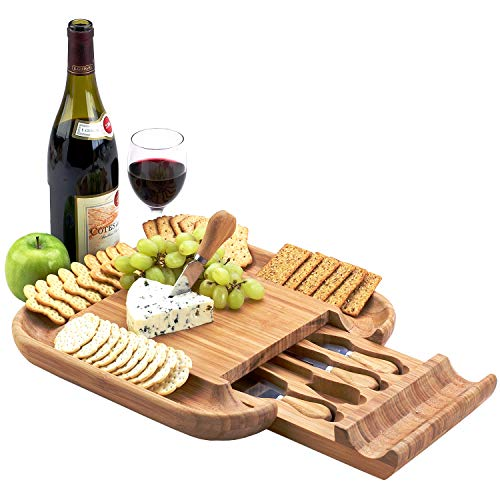 Picnic at Ascot Original Bamboo Cheese/Charcuterie Board with Cracker Groove & Drawer with Cheese Tools - Designed & Quality Checked in the USA