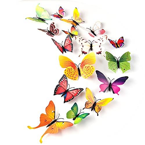 TUPARKA 36 Piezas 3D Mariposas Pegatinas de Pared Mariposas Suministros de Decoración de Jardín Accesorios de Dormitorio para Niñas Decoraciones de Aula (Mezcla de Colores)