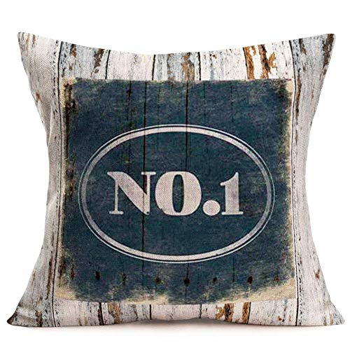 Throw Pillow Covers Vintage Wood Background with Words Lettering Decorative Pillow Covers Cotton Linen Square Pillowcase Cushion Covers for Home Sofa Couch 18' x 18' (NO.1)