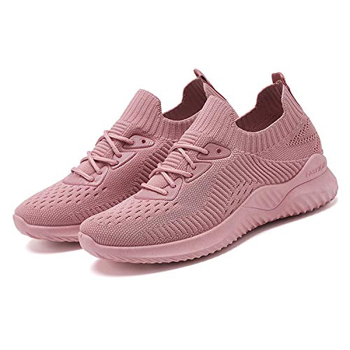 LANGBAO Women's Trainers Running Shoes Lightweight Mesh Casual Sneakers Gym Athletic Walking Shoes 21324 Pink UK7