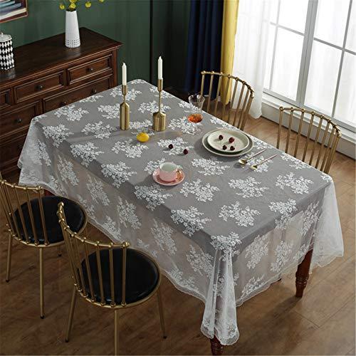 CCBAO Nappe De Salon De Cuisine À La Maison Blanche De Dentelle Rectangulaire De Polyester, Nappe Imprimée 150x200cm