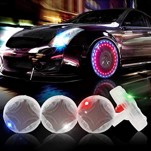 KaiDengZhe Solar Car Tire Wheel Lights LED Car Wheel Tire Air Valve Cap Light with Motion Sensors Flashing Colorful LED Gas Nozzle Cap Tire Light Use for Car Motorcycles Bicycles (Pack of 4)