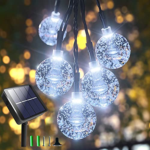 GaHeslop Solar Garden Lights Outdoor, 36Ft 60LED Waterproof String Lights Solar Powered, Large Crystal Ball Fairy Lights, 8 Modes Christmas Tree Lighting for Gazebo Patio Balcony Party (Cool White)
