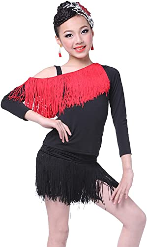 JIE. Costume de Danse Latine Vêtements d'exercice à Manches Longues pour Enfants Costume Printemps et été Enfants Latin Dance Costume Girls,rouge+noir,XL