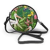 Tropical Nature - Bolso de hombro con cremallera y diseño de pelícanos redondos, de piel suave, para mujer