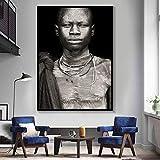 Geiqianjiumai Arte de la Pared Africana Retrato decoración del hogar Carteles en Blanco y Negro e Impresiones Sala Lienzo Pintura Pared Cuadro Pintura sin Marco 50x70 cm