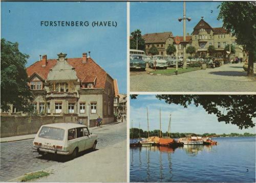 Fürstenberg an der Have. Mehrbild AK farbig. Ernst Thälmann Straße, Auto, Markt, Am Schwedt - See