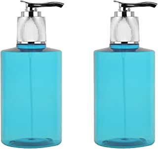 Grand Parfums 200ml TURQUOISE Pet Bottle with Shiny Metallized Lotion Pump, for Shampoo, Body Lotion, Cream, Hand Soap (6 Bottles)