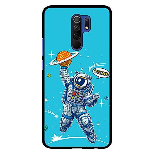 BJJ SHOP Funda Negra para [ Xiaomi Redmi 9 ], Carcasa de Silicona Flexible TPU, diseño : Astronauta Jugador de Baloncesto