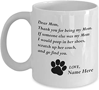 Customizable Personalized Cat Mom & Dad Custom Pet Name Coffee Mug Perfect Gift Idea For Birthday Graduation Christmas Father's Day Mother's Day Gifts From Fur Child Cat Lover Gifts 11oz (A)