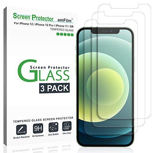 amFilm (3 Stück) Panzerglas Schutzfolie Kompatibel mit iPhone 12, iPhone 12 Pro, iPhone 11, und iPhone XR (10R) - Hüllenfreundliche (Einfache Install) Glas Displayschutzfolie (6.1 Zoll)