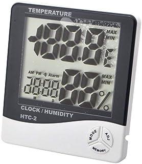 HTC-2 جهاز قياس الرطوبة في درجة الحرارة في الأماكن المغلقة أو الهواء الطلق رقمي مقياس الرطوبة مع الوقت / الساعة