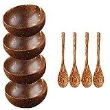 Juego de 4 Cuencos y cucharas de Coco orgánico Natural 100% Natural, Vegano, Hecho a Mano, Respetuoso con el Medio Ambiente, Hecho de cáscaras de Coco recuperadas, Cuenco Reutilizable
