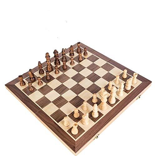 Xjdmg Tablero de ajedrez Juego parado de ajedrez magnético Tablero de Madera Maciza Piezas de Madera Plegable Juego de ajedrez (Color : Small, Size : -)