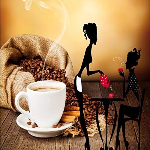 Wxlsl Individuelle Fototapete Coffee Shop Schönheit Silhouette Tasse Hintergrund Lounge Wandbild-400Cmx280Cm