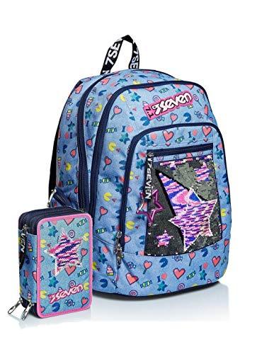 Schoolpack Zaino Scuola Seven Advanced Starry Rainbow Celeste + Astuccio 3 Zip Completo