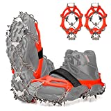 FANBX F Crampons Ice Cleats Traction Snow Grips for Shoes and Boots Men Women Anti-Slip 19 Spikes Stainless Steel Microspikes for Walking, Hiking, Climbing and Mountaineering on Snow and Ice (Large)
