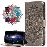 MRSTER Funda para Samsung Galaxy S9+, Estampado Mandala Libro de Cuero Billetera Carcasa, PU Leather Flip Folio Case Compatible con Samsung Galaxy S9 Plus. LD Mandala Grey