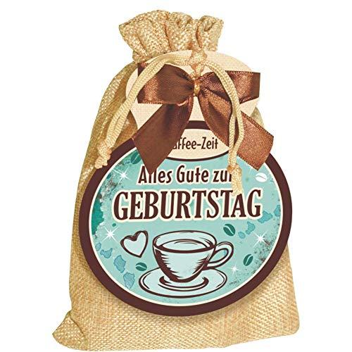 Kaffeesäckchen als Geschenk für Kaffeeliebhaber und Kaffeegenießer. Witzige Geschenkidee mit Kaffee im Jutesack für die Kaffeetasse (Kaffee Sack - Alles Gute zum Geburtstag -)