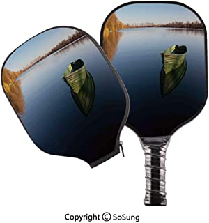 3D Print Graphite Pickleball Paddle Set,Single Fishing Boat on the Lake Being Alone Theme in Still Calm Waters Life Artprint Pop Carbon Fiber Large Lightweight Top Professional Power Outdoor Rackets f