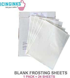 """Icinginks 24 Frosting Sheets 8.5"""" X 11"""", Icing Sheets for Cake Toppers, Cookies & Décor, A4 Very White Edible Paper, Cake Edible Paper for Birthdays, Parties, Edible Sugar Sheets for Printers"""