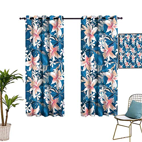nooweihome Leaf Queen Size Room Darkening Curtains for Bedroom Singapore Plumeria and Tropical Hibiscus Hawaiian Flowers Grunge Design Protect Furniture W63 x L63 Pink White and Dark Blue