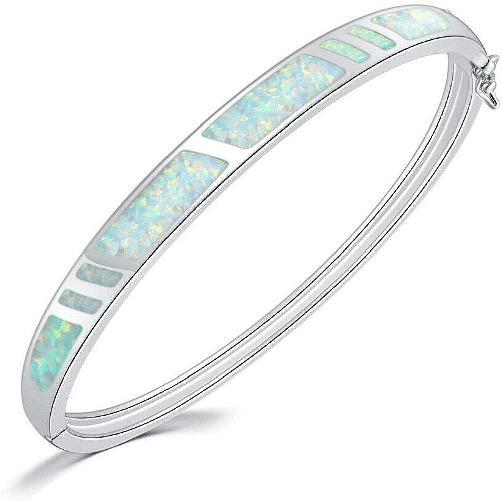CiNily 14K White Gold Plated Opal Bangle Bracelet for Women Teen Girls,Hypoallergenic Jewelry Gift Gemstone Bangle Bracelet 8.26 inch