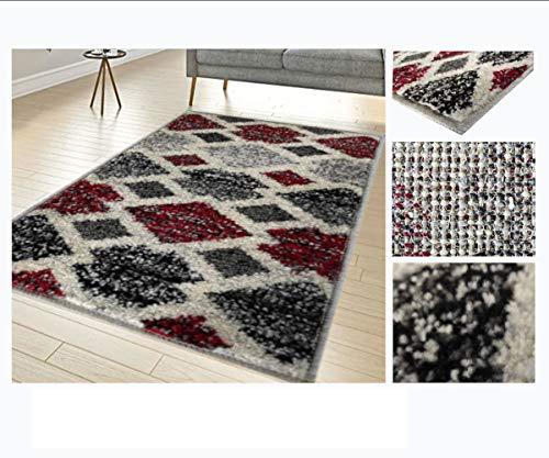 Alfombra de Salón Frise Pelo Largo Tupido Rectangulos Geometricos Modernos Color (Granate, 100_x_150_cm)