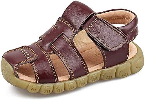 Gaatpot Unisex-Kinder Sandalen Mädchen Jungen Kindersandale Geschlossene Leder Sandale Sommer Sandaletten Lauflernschuhe Schuhe Braun 33 EU/34 CN