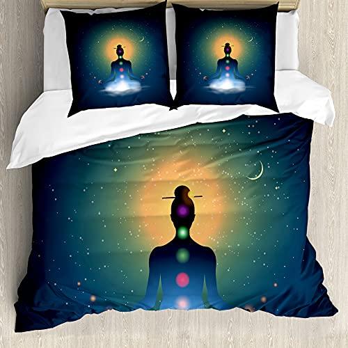 ABAKUHAUS Yoga Funda Nórdica, Meditar Mujer Chakra, Estampado Lavable, 3 Piezas con 2 Fundas de Almohada, 200 cm x 200 cm - 80 x 80 cm, Multicolor