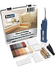 BENLER® NIEUW! - tegelreparatieset met 2-in-1 wassmelter voor tegels, keramiek en aardewerk - bruintinten, ook geschikt voor laminaat, parket en vinylvloer - 19-delige reparatieset (bruin/grijs)