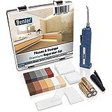 BENLER® NEU! - Fliesen-Reparatur-Set mit 2in1 Wachsschmelzer für Fliesen, Keramik und Steingut - Brauntöne, auch für Laminat, Parkett und Vinylboden geeignet - 19-teiliges Reparaturset (braun/grau)