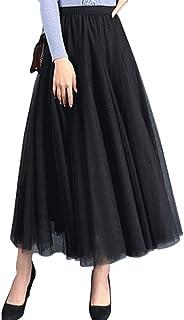 FEOYA Donna Gonna Tulle Moda Pieghe Principessa Gonne Vita Elastica per Festa Danza