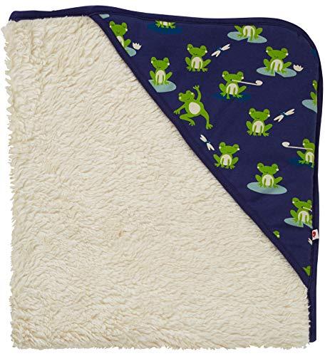 Piccalilly Cosy + Couverture bébé doublée polaire douce avec capuche Grenouille Bleu marine Coton bio