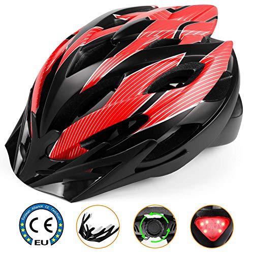 Shinmax Casque de Vélo avec Visière Amovible Casque de Vélo Route avec Sécurité LED Feu...