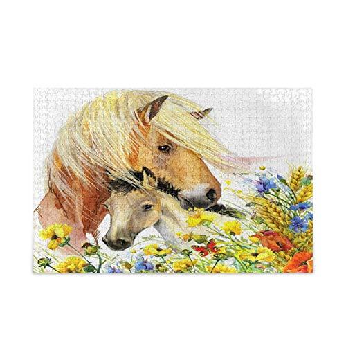 Puzzle 500 Piezas/Puzzle 1000 Piezas, Animal Caballo Flor Patrón Rompecabezas para Adultos 500 Piezas Juegos de Rompecabezas educativos Juguetes para familias Adolescentes