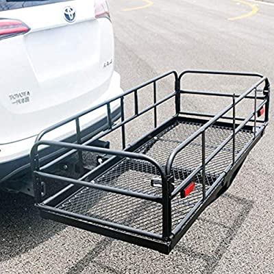 "60"" Folding Cargo Carrier Luggage Rack (Hauler Truck or Car Hitch 2"" Receiver) Hitch Hauler"