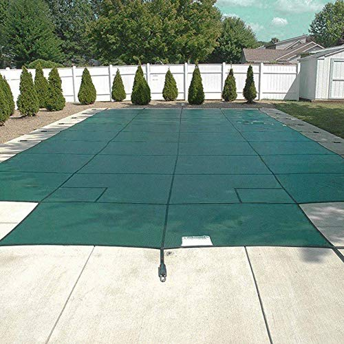 Happybuy pool safety cover fits 16x32ft rectangle inground safety pool cover green mesh with 4x8ft center end steps solid pool safety cover for swimming pool winter safety cover
